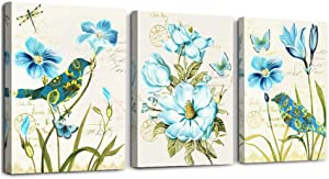 Canvas Wall Art for Living Room Bedroom Decoration Kitchen Wall Artworks, 3 Piece Bathroom Wall Decor Blue flowers and birds Adornment Pictures Vintage Painting dining room canvas art ready to hang
