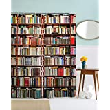 """A.Monamour Bookshelf Full Of Books Study Room Scene Picture Print Waterproof Mildew Resistant Fabric Polyester Shower Curtain For Kids Bathroom 180X200 Cm / 72"""" X78"""""""