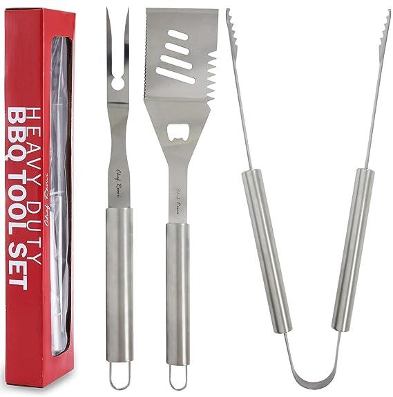 Set de Parrillas y Barbacoas 3pcs - Garantía de Sustitución de por Vida- Kit completo de utensilios de parrillas compuesto por una espátula, ...