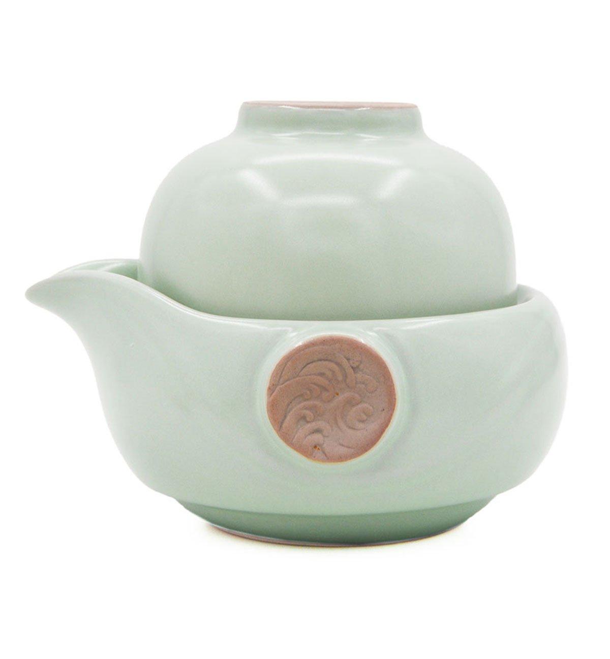 Vegali Celadon Pumpkin-Style Portable Gongfu Tea Set -100% Handmade Chinese/Japanese Vintage Gongfu Teaset - Porcelain Teapot & Teacups (Celadon)