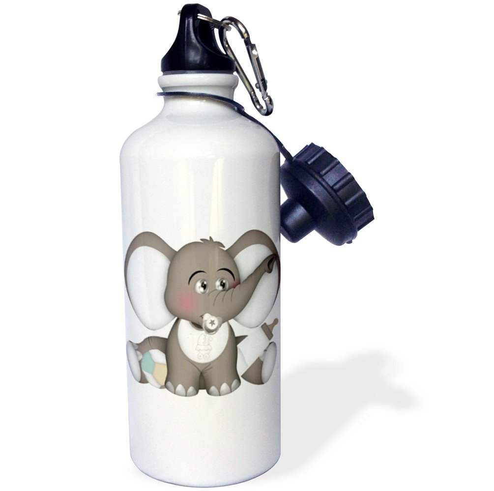3dRose Anne Marie Baugh - Animals - Cute Gray and White Baby Elephant With A Pacifier, Bib, and Bottle - 21 oz Sports Water Bottle (wb_222584_1)