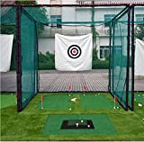 10'x10'x10' Golf Hitting Cage Target Net with Complete Frame Kit & Poles and Foam Pipe Protection Cover,Heavy Duty Net with a 13''X24'' Golf Hitting Mat