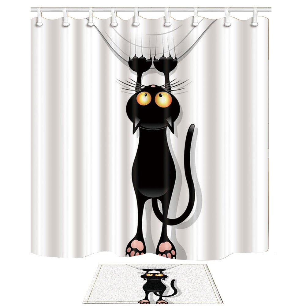 NYMB Cartoon Black Cat 69X70in Mildew Resistant Polyester Fabric Shower Curtain Suit With 40x60cm Flannel Non-Slip Floor Mat Bath Rugs (Muliti21)