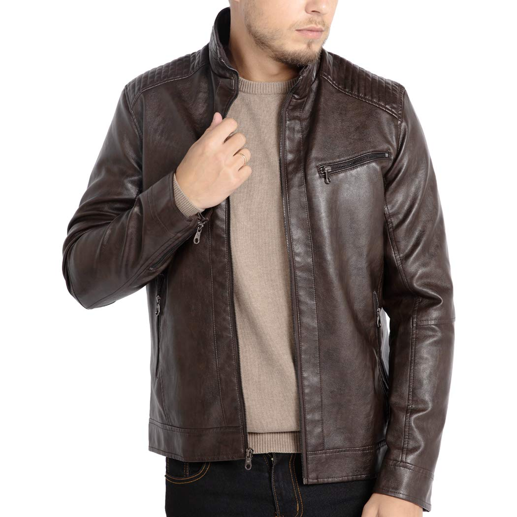 WULFUL Men's Stand Collar Leather Jacket Motorcycle Lightweight Faux Leather Outwear by WULFUL