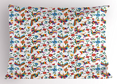 Ambesonne Mexican Pillow Sham, Traditional Latin American Art Design with Natural Inspirations Flowers and Birds, Decorative Standard Size Printed Pillowcase, 26 X 20 inches, Multicolor by Ambesonne
