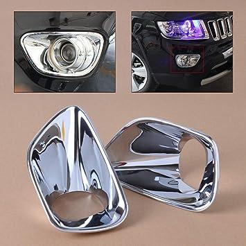 2 piezas nuevo ABS cromado frontal antiniebla l/ámpara cubierta triple para