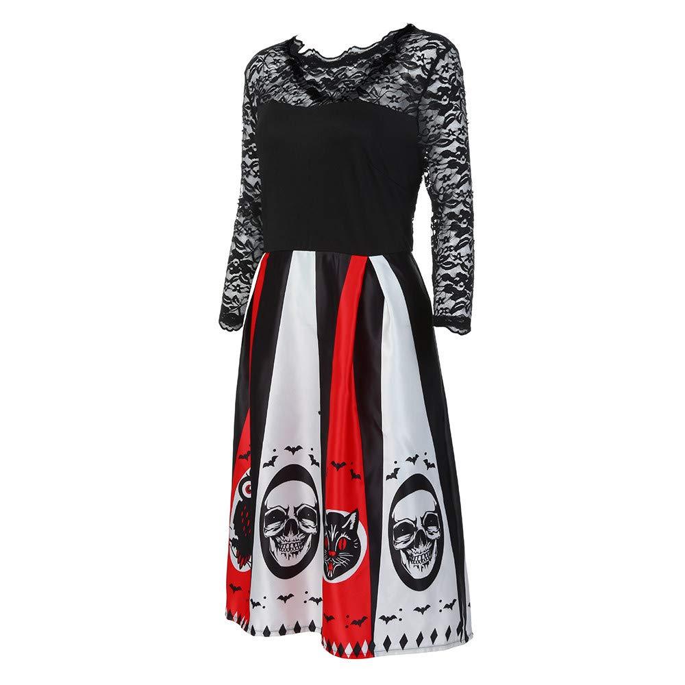 Vestido para Mujer Halloween Calaveras Vestir Ropa 3/4 Manga Larga ...