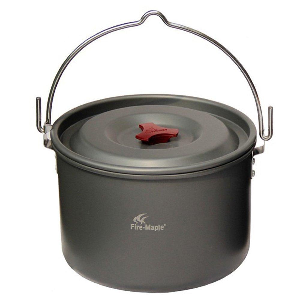 Docooler Lixada 5L Outdoor Pot de Fleur /à Suspendre en Aluminium de Cuisson pour 4 5/Personnes Camping Bonfire Party avec Sac en Filet