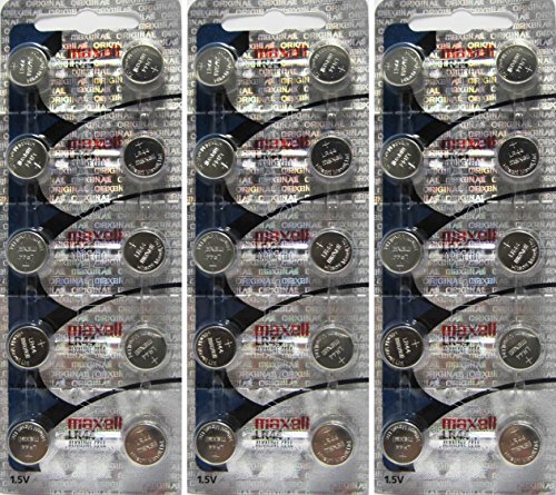 Maxell Alkaline Button - Maxell LR44 (A76) 1.5V Alkaline Battery 3PACK X 10PCS=30 Single Use Batteries