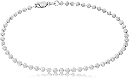 """2MM SOLID 14K WHITE GOLD DIAMOND CUT ROPE CHAIN ANKLET 9/"""""""