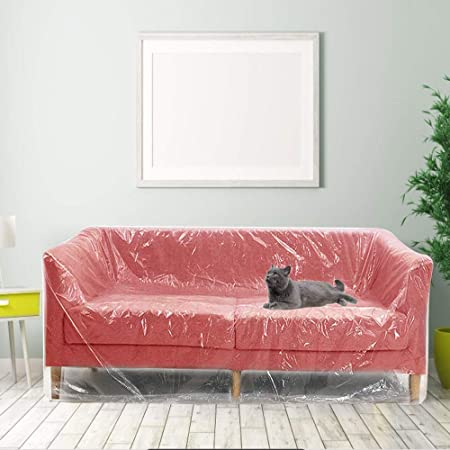 Decareta Plastic Sofa Cover Large Sofa Storage Cover Plastic Sofa Dust Covers Sofa Protector Bags Plastic Couch Covers Painters Drop Cloth For Protection Plastic Sofa Covers For Bed Sofa Couch Ground Amazon Co Uk Kitchen Home