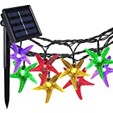 Solar Outdoor String Lights, COOLEAD 30LED 20ft Starfish Solar Powered String Lights Christmas Decorative Lighting for Indoor Outdoor Garden Home Party Wedding Holiday Decorations Multi Col