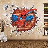 Removable 3D View Art Mural Vinyl Waterproof Wall Stickers Kids Room Nursery Decor Decal Sticker (Spider-Man Through-wall)