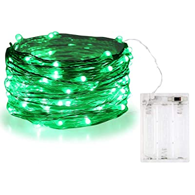 BOLWEO Battery Operated Christmas Halloween String Lights, 10Ft Copper Wire 30 LEDs, Waterproof Indoor Outdoor Copper Wire Home Garden Camping Wall Ball Decorations, Green