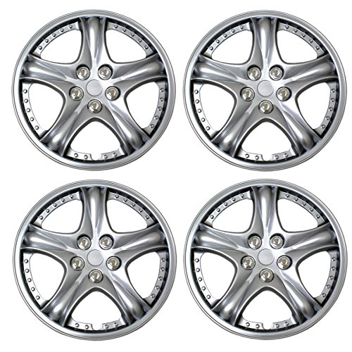 Tuningpros WC3-14-5006-S - Pack of 4 Hubcaps - 14-Inches Style 5006 Snap-On (Pop-On) Type Metallic Silver Wheel Covers Hub-caps