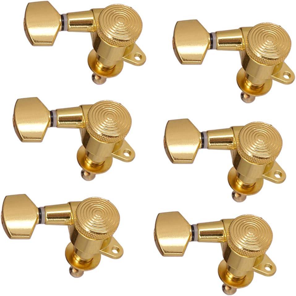 1 Juego De 6 Clavijas De Afinación Para Guitarra Eléctrica Lock String Iron Golden