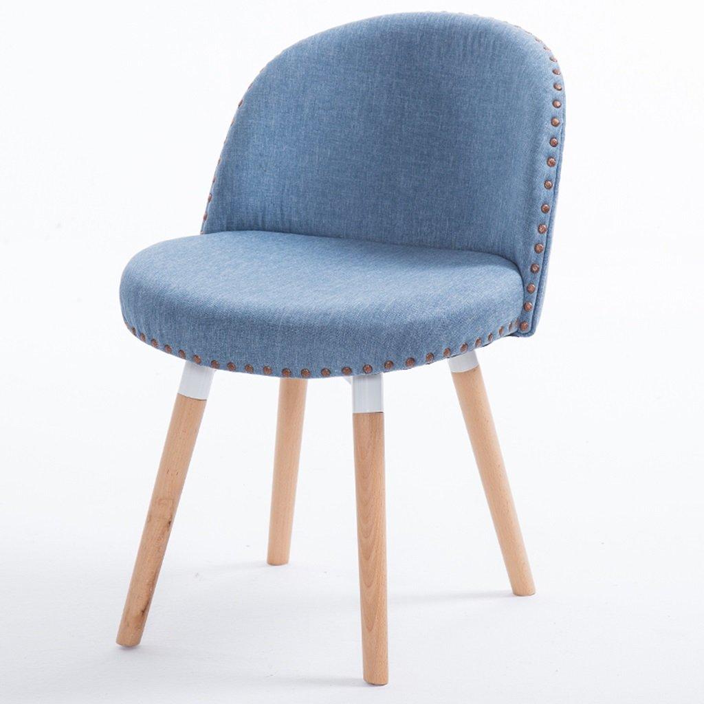 柔らかいパッド入りの木製の脚を備えたベッドルームチェア、ダイニングルームのための3つのセット、キッチン現代布張りチェアシートスツール (色 : 青, サイズ さいず : Set of 1) B07DXZ8542青 Set of 1