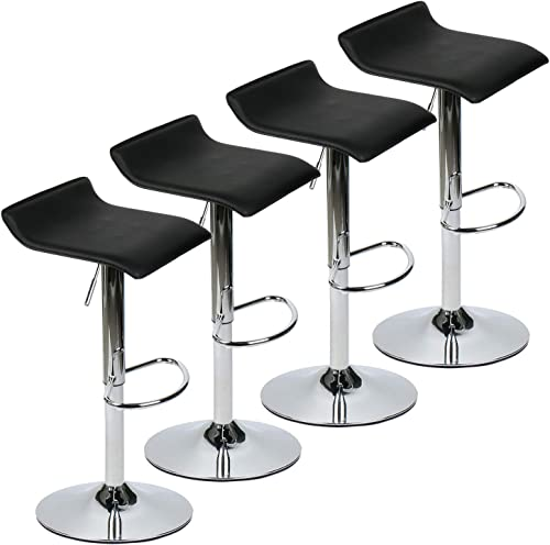 YOURLITEAMZ Modern Swivel Adjustable Home Barstools-Set of 4 for Kicthen Counter Backless Faux Leather Fabric Counter Height Airlift Home Bar Furniture Stools Chairs with Chrome Base Set of 4 Black