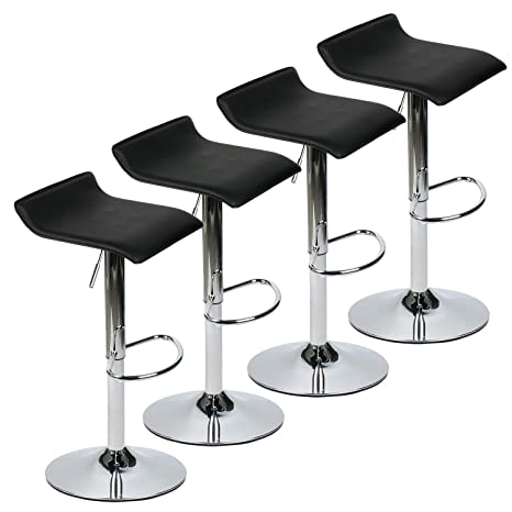 Fine Amazon Com Set Of 4 Adjustable Swivel Barstools Pu Leather Beatyapartments Chair Design Images Beatyapartmentscom