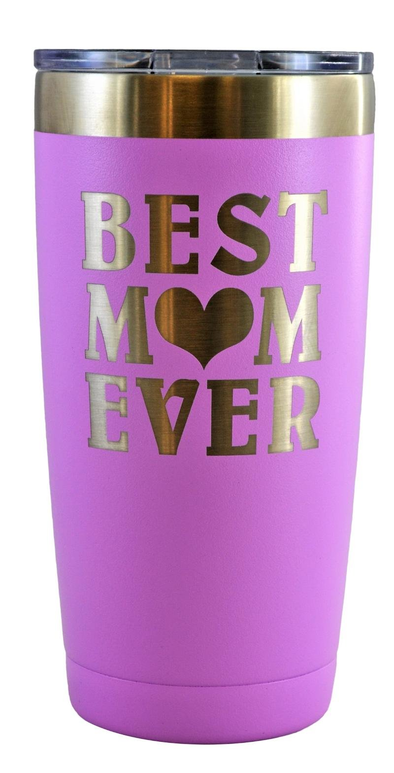 MOM GIFT – Engraved BEST MOM EVER Stainless Steel Polar Camel Tumbler 20 oz Vacuum Insulated Large Travel Coffee Mug Hot & Cold Drinks Birthday Christmas Mothers Day Beach Pool Party (Light Purple)