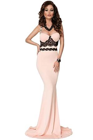 Nuevo Rosa y detalle de encaje negro largo vestido maxi fiesta Prom Cóctel crucero vestido de