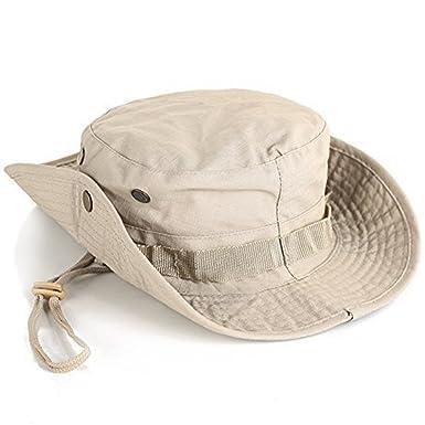 d5547b0b0b0c Leisial Sombrero de Pescador Camuflaje del Ejército de ala Ancha Borde  Redondo Anti-UV Algodón Acampada Senderismo Deporte al Aire Libre Ocio Gorra  Montaña ...