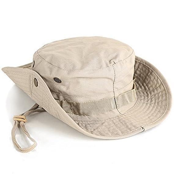 Leisial Sombrero de Pescador Camuflaje del Ejército de ala Ancha Borde  Redondo Anti-UV Algodón Acampada Senderismo Deporte al Aire Libre Ocio  Gorra Montaña ... 21a5f8a8746