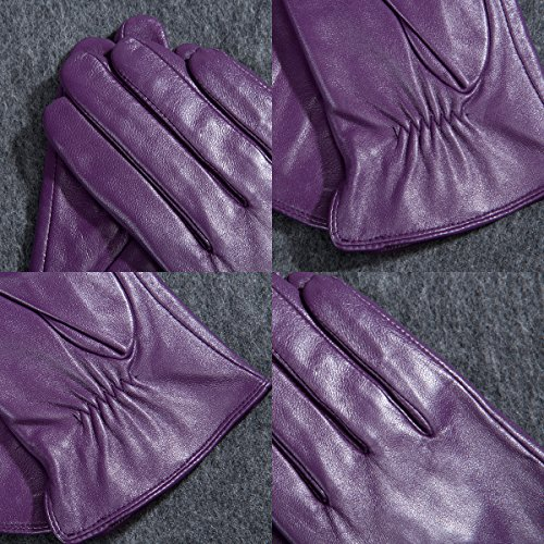 Kursheuel 14 colors Cashmere Women Lady's Genuine lambskin soft leather driving Gloves KU141 (L, Purple) by Kursheuel (Image #6)
