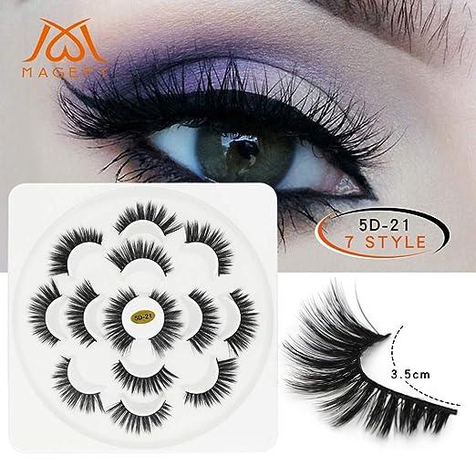 d7fa0c5dfb7 Kacper 7 Pairs Party 5D Mink Eyelashes False Eyelashes Lashes Voluminous  Extension Reusable Handmade Natural Look