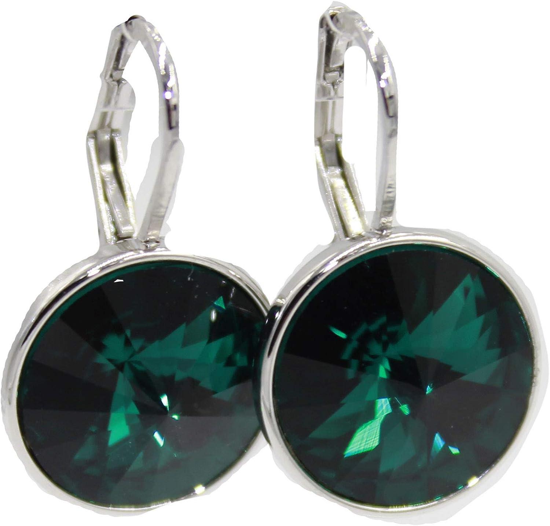 Swarovski Elements - Pendientes de esmeralda con cierre de palanca, color verde