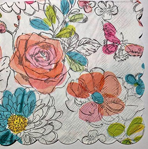 floral beverage napkins - 6