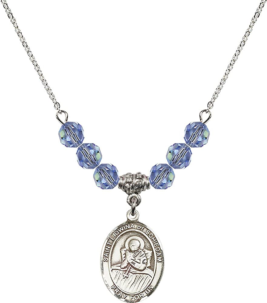 18-Inch Rhodium Plated Necklace with 6mm Light Sapphire Birthstone Beads and Sterling Silver Saint Lidwina of Schiedam Charm.