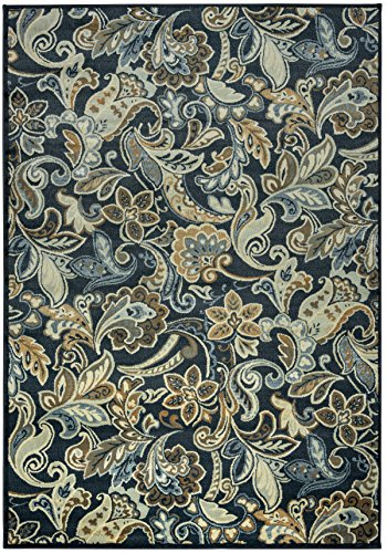 Rizzy Home Sorrento Collection Power Loomed Double Pointed Designs Area Rug, 7' 10'' x 10' 10'', Multicolor/Navy/Light Blue/Gold/Light Sage/Tan by Rizzy Home