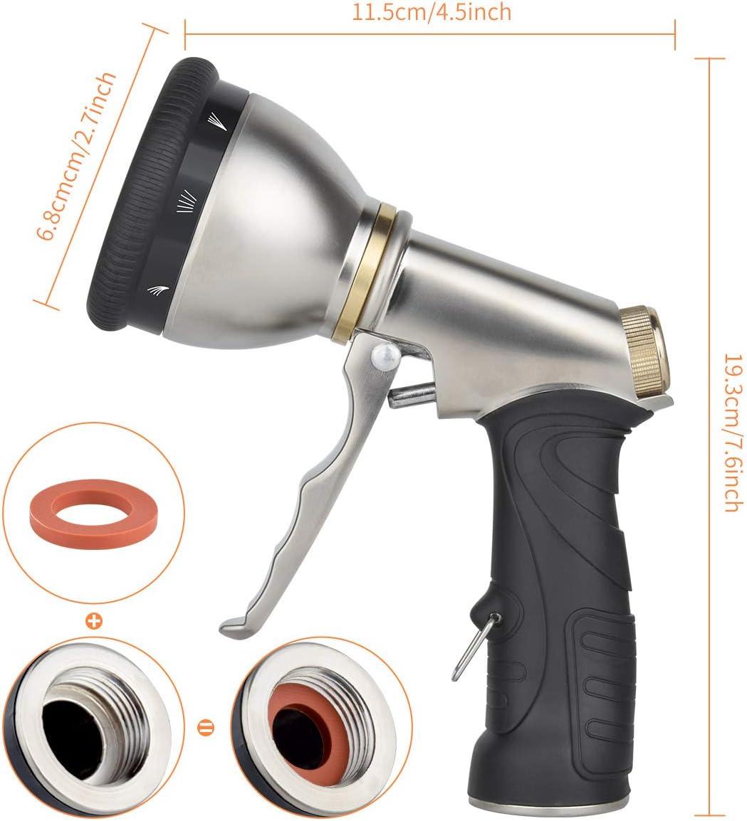 Garden Hose Trigger Nozzle Water Sprayer Metal Heavy Duty Lawns Tools 6 Way Cars