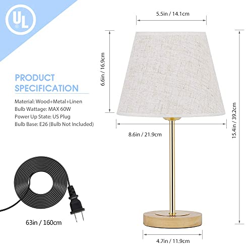 Table Lamps for Bedrooms, Gold Desk Lamp with Linen Shade, Modern Wood Bedside Lamp for Dressers, Coffee Table, Living Room, College Dorm Set of 2