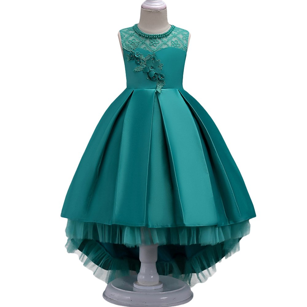 HUANQIUE Girls Hi-Low Wedding Pageant Dress Flower Girl Party Gowns Green 3-4 Years