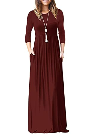 961eafe00e PINKMILLY Women Loose Plain 3 4 Sleeve Maxi Dresses Casual Long Dress with  Pockets Burgundy