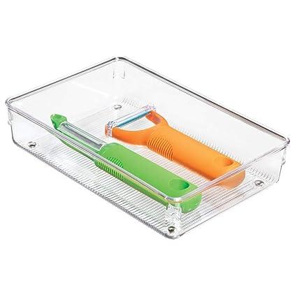 InterDesign Linus Organizador de cajones, cubertero para cajones de cocina grande en plástico para guardar