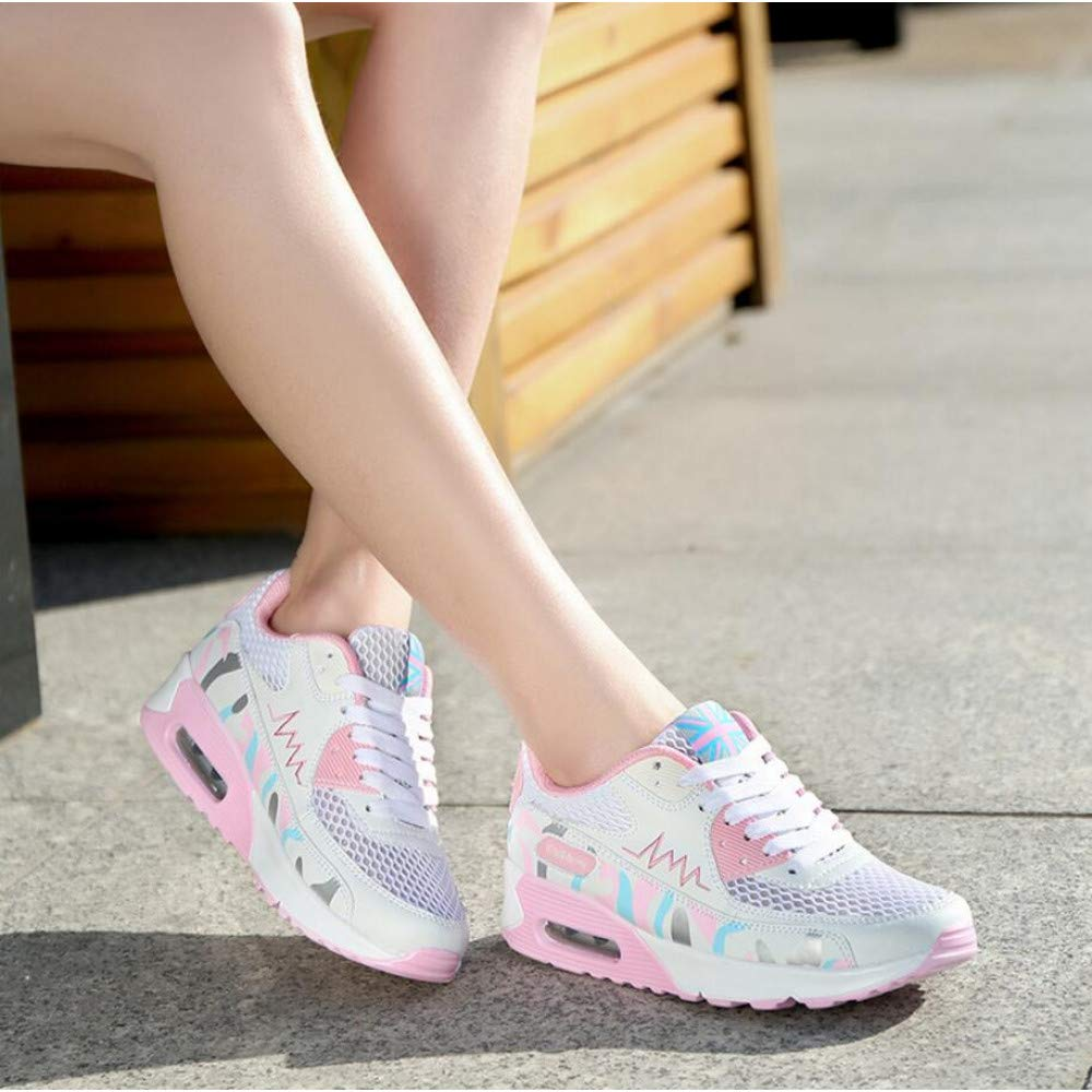 GUNAINDMX Junge Frauen-weibliche zufällige Art und Weise, die Maschen-Luft aushöhlen Kissen-dämpfende Schuhe strickt