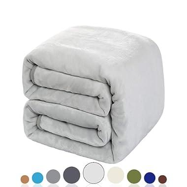 Balichun Luxury 330 GSM Fleece Blanket Super Soft Warm Fuzzy Lightweight Bed or Couch Blanket Twin/Queen/King Size(King,Silver Grey)