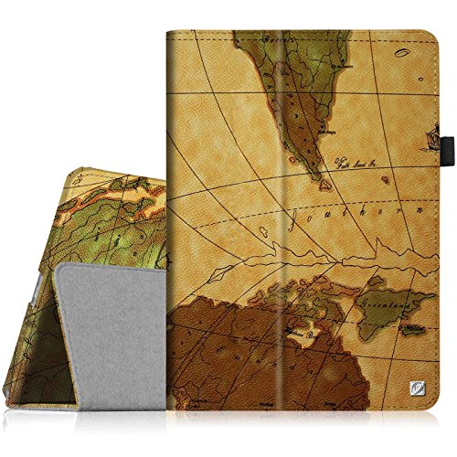 Fintie iPad Air 2 Case - Slim Fit Leather Folio Case with Smart Cover Auto Sleep / Wake Feature for Apple iPad Air 2 (iPad 6) 2014 Model, Map Brown