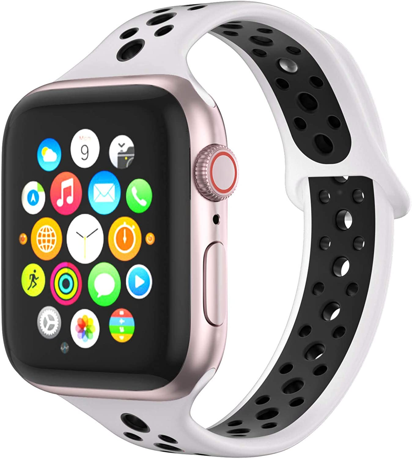 BATINY Silicone Watch Band Compatible with Apple Watch Bands Slim Thin 38mm 40mm 42mm 44mm Replacement Wristbands for iWatch Series 5,4,3,2,1 Straps for Sports