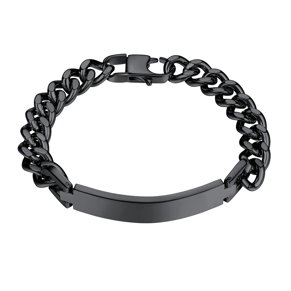 PROSTEEL Black Bracelet Men Jewelry Stainless Steel ID Bracelet Cuban Link Hand Chain 8.3 Inches Gift for Him