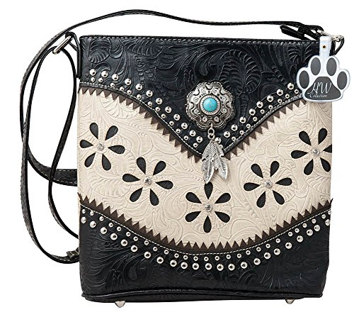 HW Collection Western Hanging Feather Tassels Tooling Flower Concealed Carry Crossbody Handbag Purse (Beige) ()