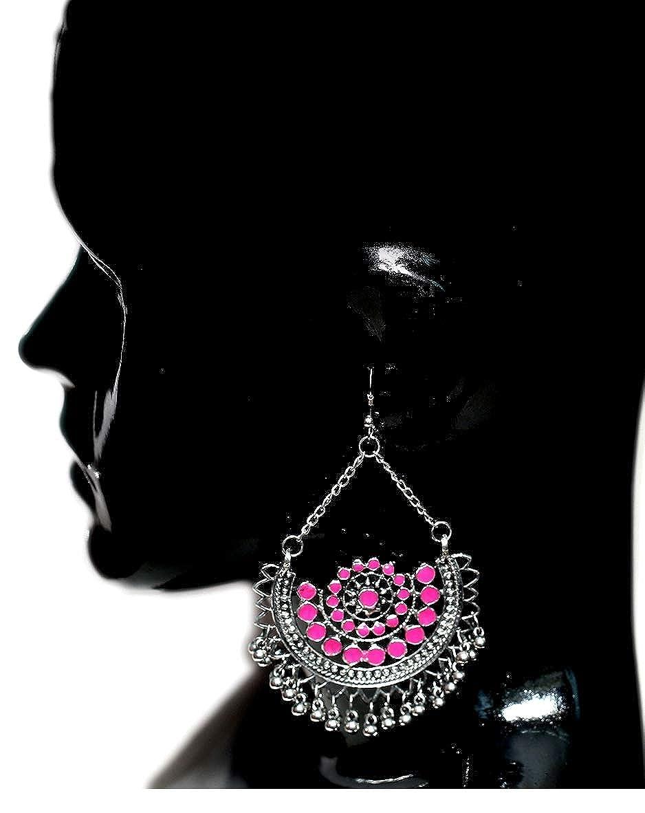 DecorTales Fashion Beaded Bollywood Tribal Afghani Indian Oxidized Long Dangle Chain Jhumka Chandbali Earrings