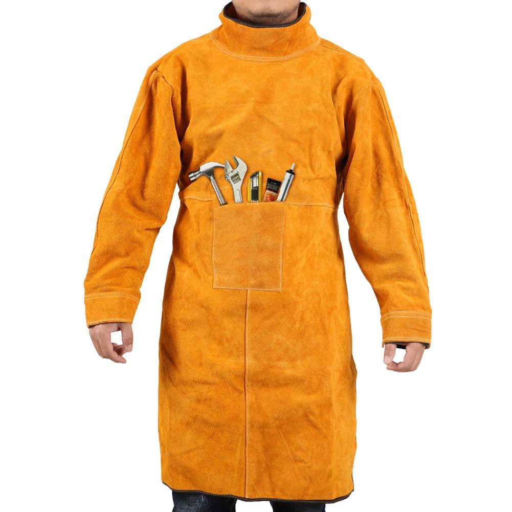 Gotega Welding Jacket XL/Leather Welding Apron/Heat & Flame-Resistant Heavy-Duty Work Apron/Anti-scald Flame Resistant Welding Coat for Welder/Men