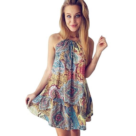 Vestido corto de cuello colgante para mujer, Summer Vintage Boho Mini Maxi Evening