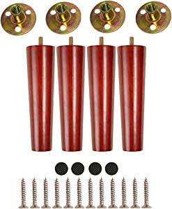 6'' Round Solid Wood Furniture Legs,Mid-Century Modern Replacement Legs for Sofa/Chair/Couch/Loveseat/Cabinet/Dresser/Coffee Table/Sideboard(6 Inch, Set of 4)