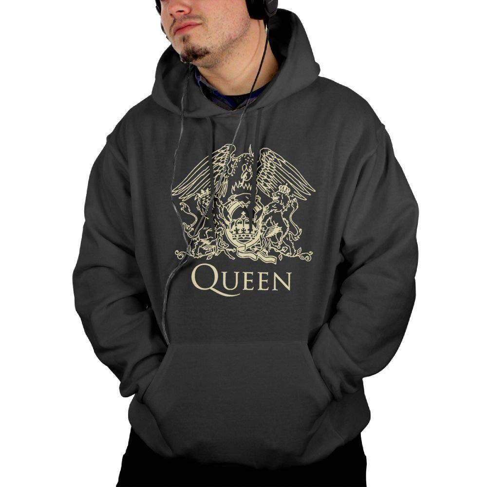 FLangeer Mens Queen Band Logo Comfortable Pullover Sweatshirt Black