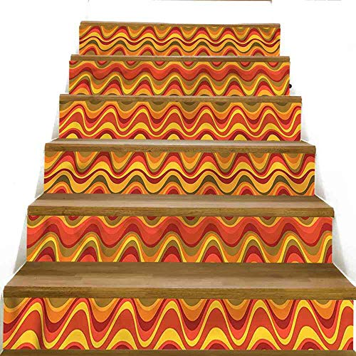 (SeptSonne Stairs Stickers Geometric,Desert Dune Pattern Stairs Stickers, Size:W 39
